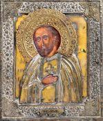 Icona con riza in metallo dorato raffigurante San Sarafino di Sarov. Mosca XIX-XX [...]