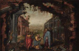 Scuola romana del XVII secolo, Consegna delle chiavi a San Pietro - olio su tela, cm [...]