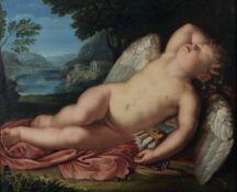 Scuola neoclassica romana della fine del XVIII secolo, Amore addormentato - olio su [...]