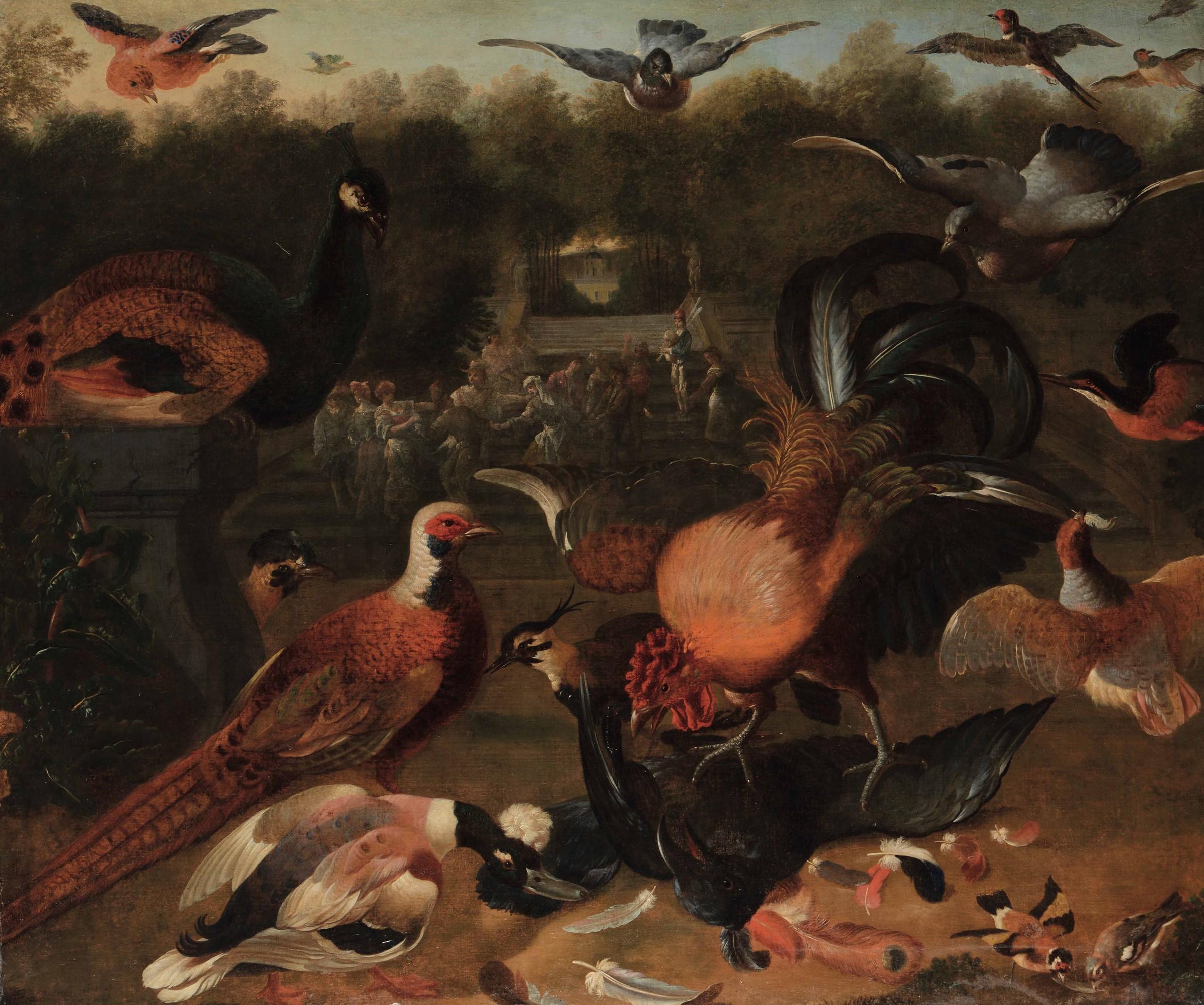 Scuola fiamminga del XVII secolo, Festa in giardino con pavone, fagiano e altri [...]