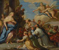 Luca Giordano (Napoli 1634-1705), attribuito a, Psiche onorata dal popolo - olio su [...]