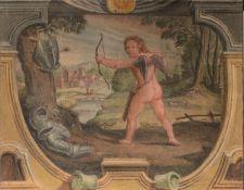 Scuola emiliana del XVII secolo, Cupido che gioca con le armi di Marte - strappo [...]