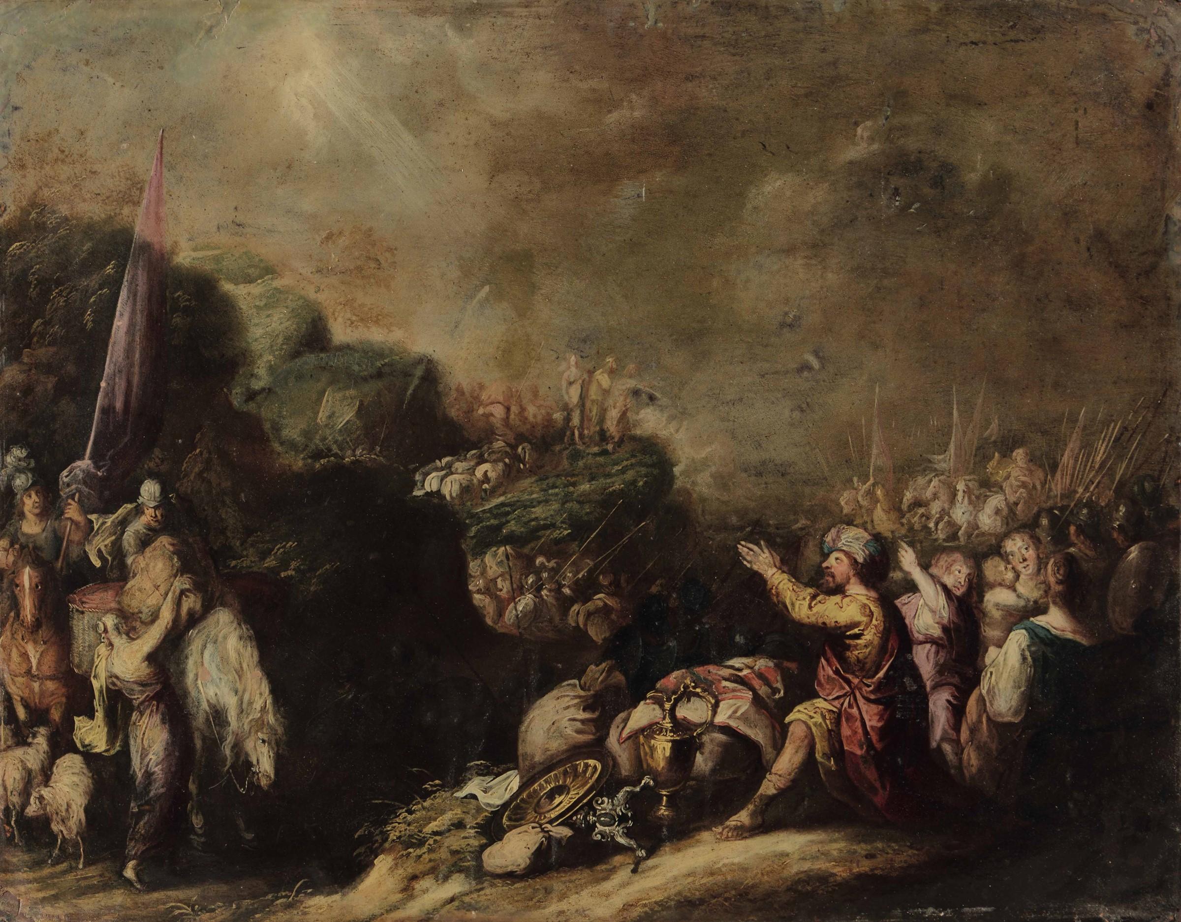 Scuola fiamminga del XVII secolo, Scena tratta dall'Antico Testamento - olio su rame, [...]