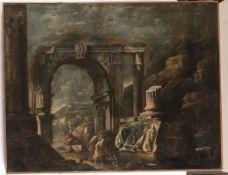 Giovanni Ghisolfi (Milano 1623-1683), ambito di, Notturno con figure e architetture - [...]