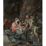 Sebastiano Galeotti (Firenze 1676 - Mondovì 1746), Sacra Famiglia con angeli - olio [...]