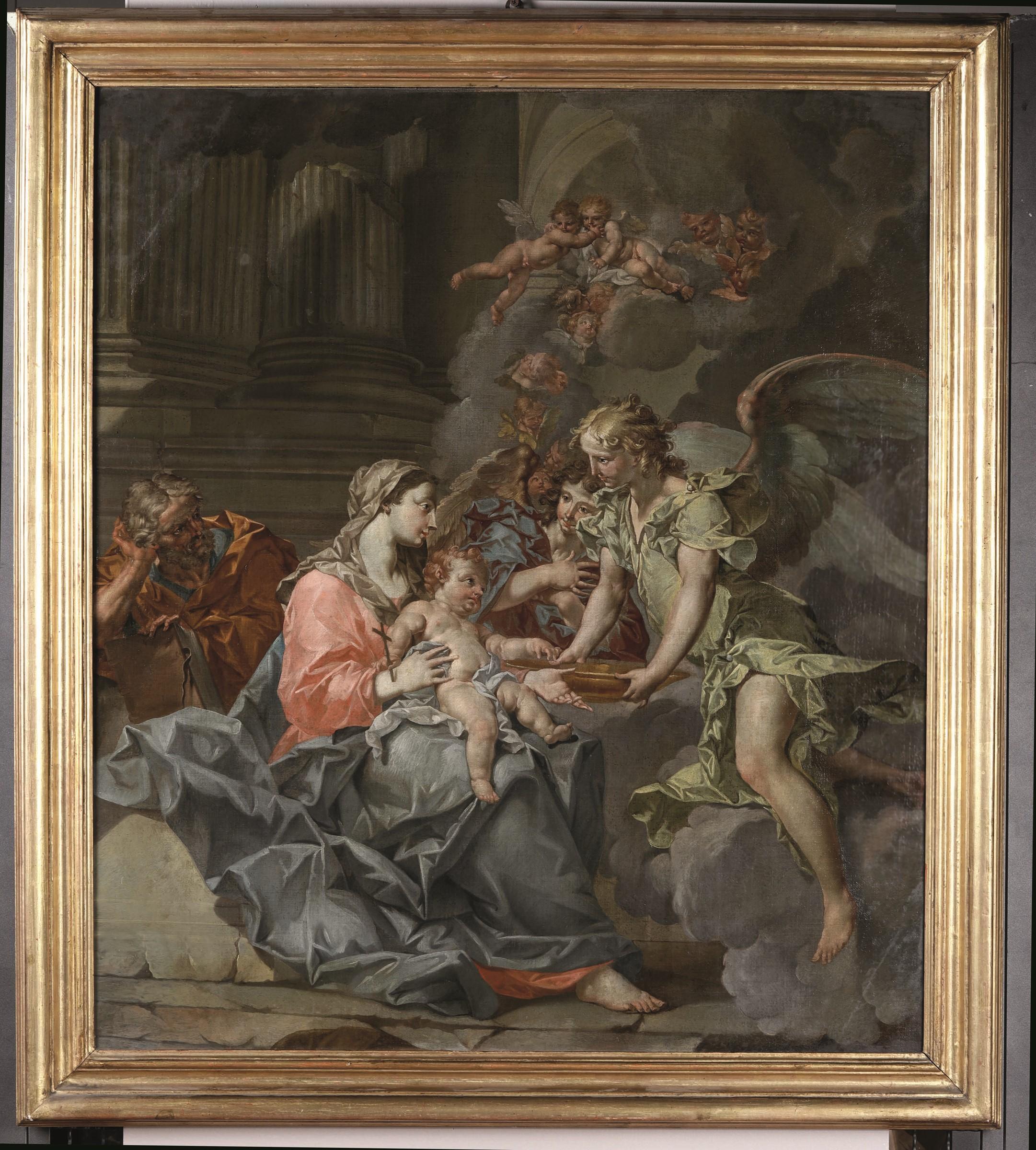 Sebastiano Galeotti (Firenze 1676 - Mondovì 1746), Sacra Famiglia con angeli - olio [...] - Image 3 of 3