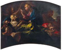 Carlo Preda (Milano 1651-1729), Transito di San Giuseppe - olio su tela centinata, cm [...]