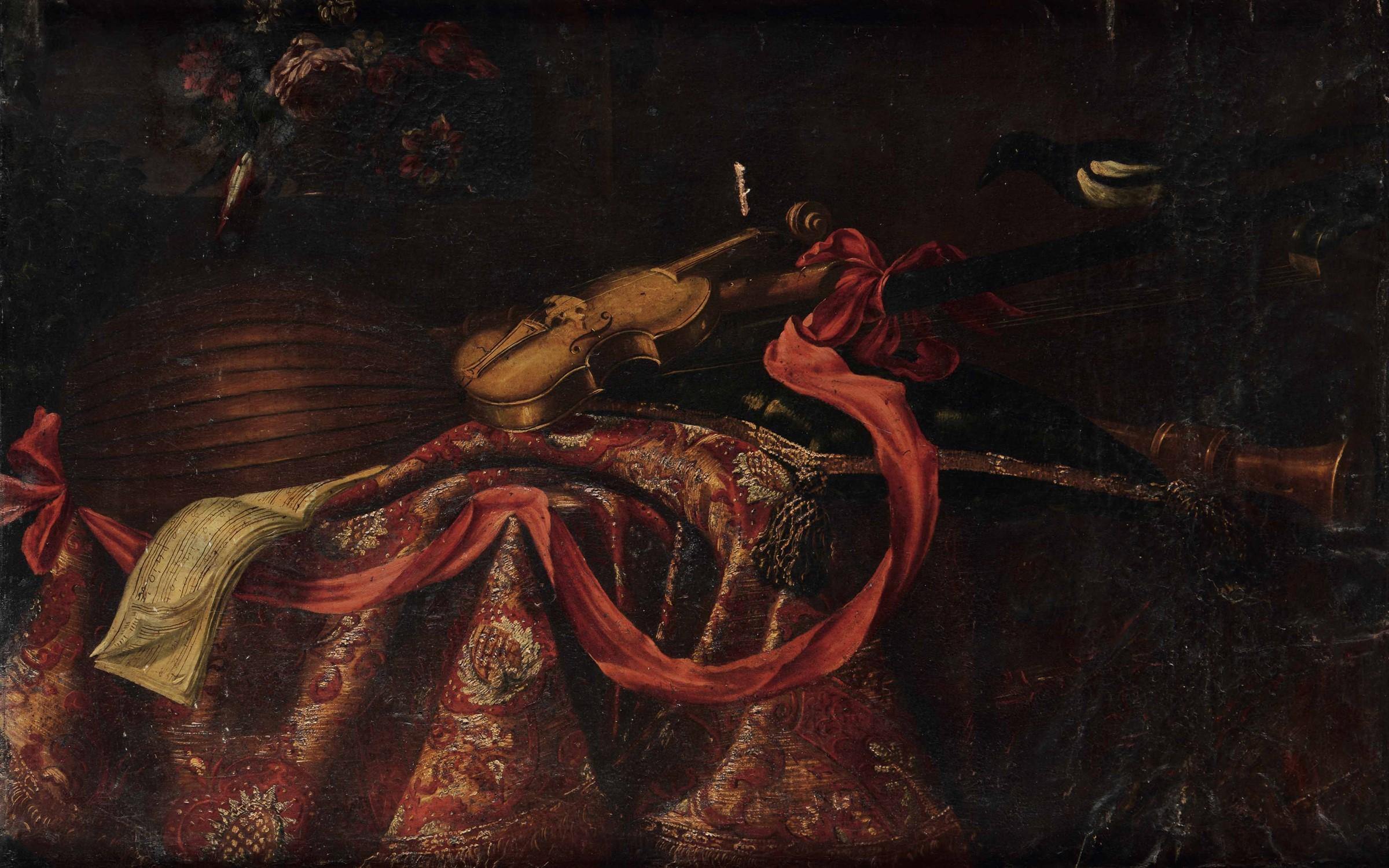 Giuseppe Recco (Napoli 1634 - Alicante 1695), Natura morta con strumenti e tappeti - [...]