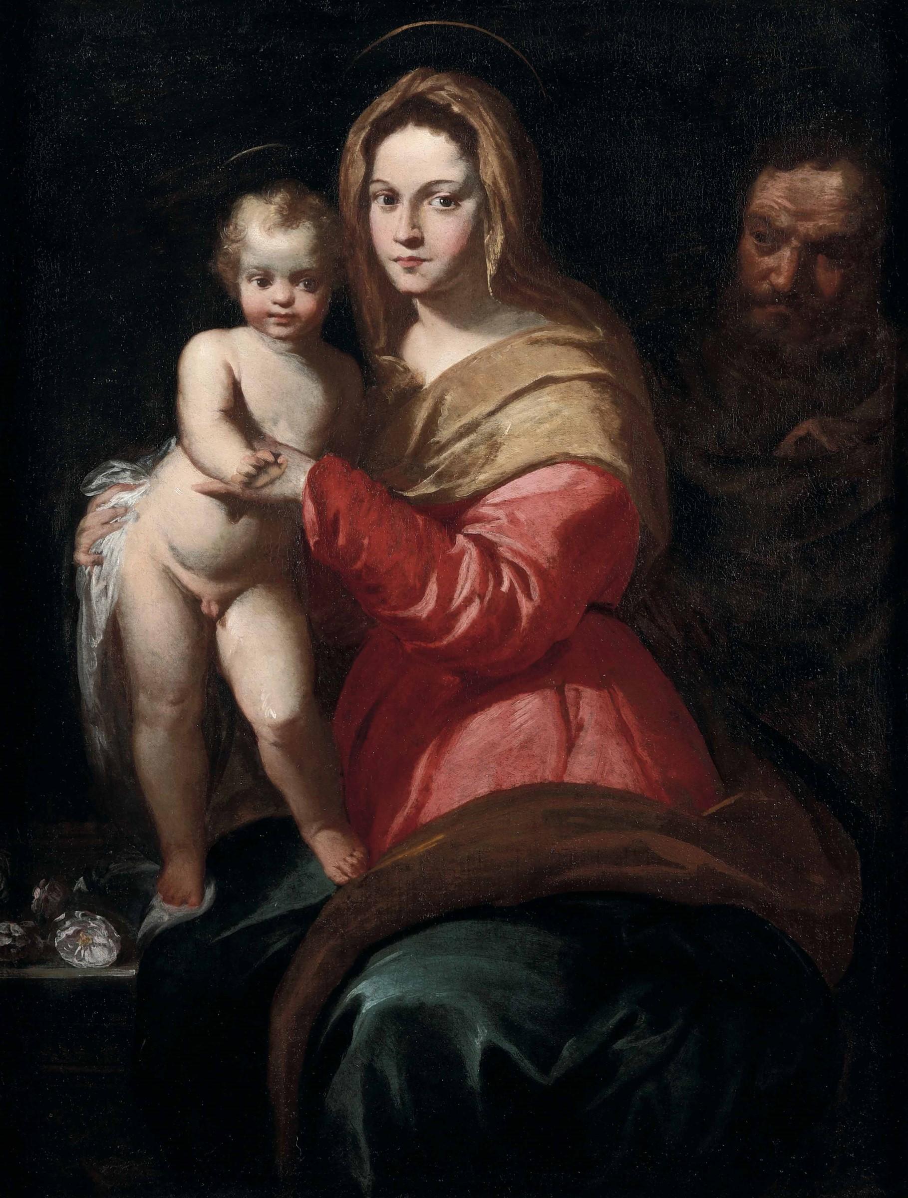 Scuola senese dell'inizio del XVII secolo, Madonna con Bambino e San Giuseppe - olio [...]