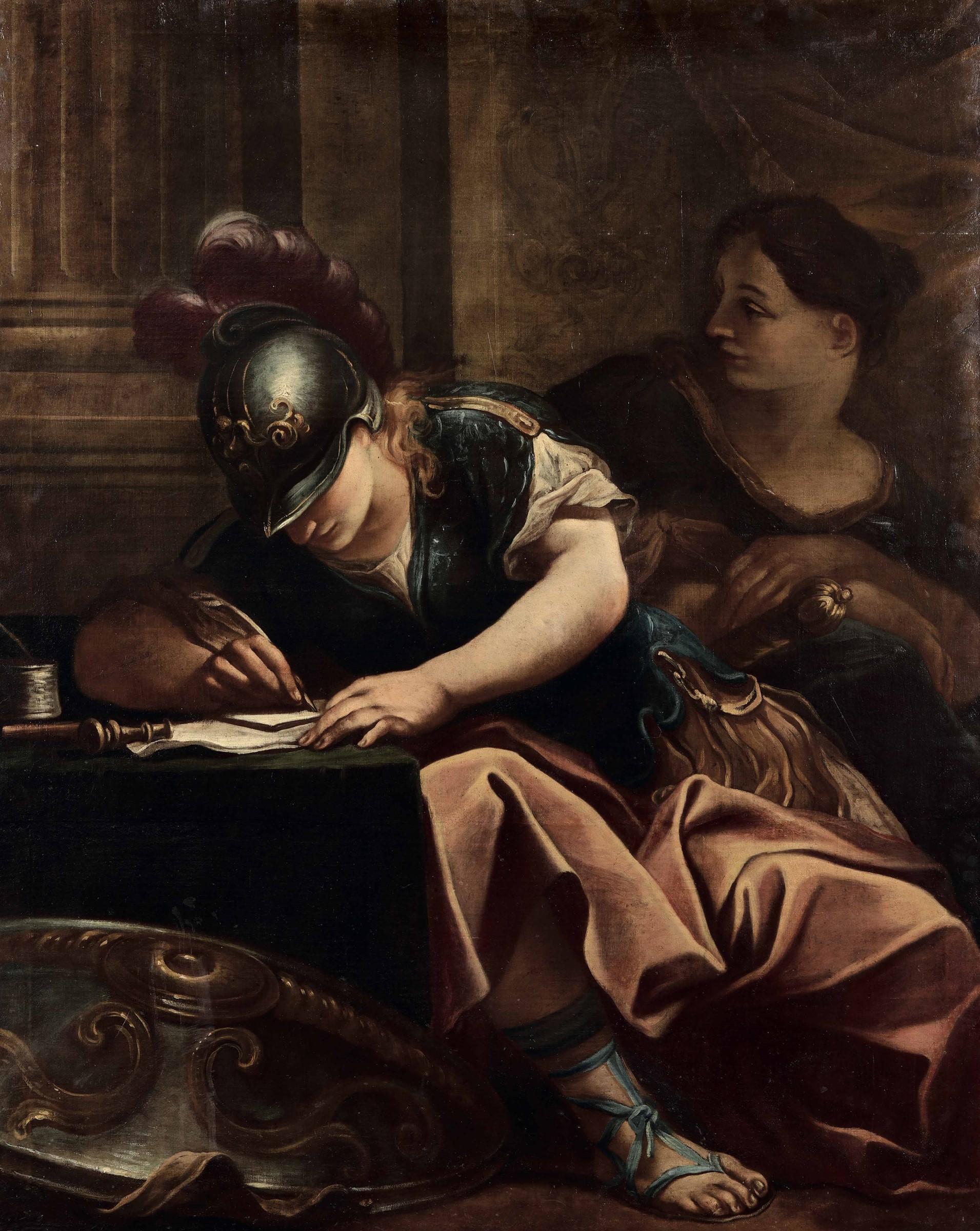 Scuola italiana del XVII secolo, Episodio della Gerusalemme liberata - olio su tela, [...]