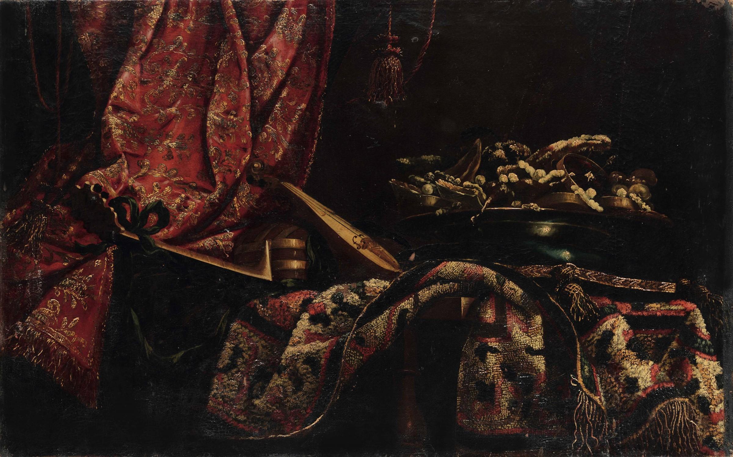 Giuseppe Recco (Napoli 1634 - Alicante 1695), Natura morta con strumenti, drappi e [...]