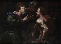 Scuola italiana del XVIII secolo, Giuseppe interpreta i sogni - olio su tela, cm 90x128 -