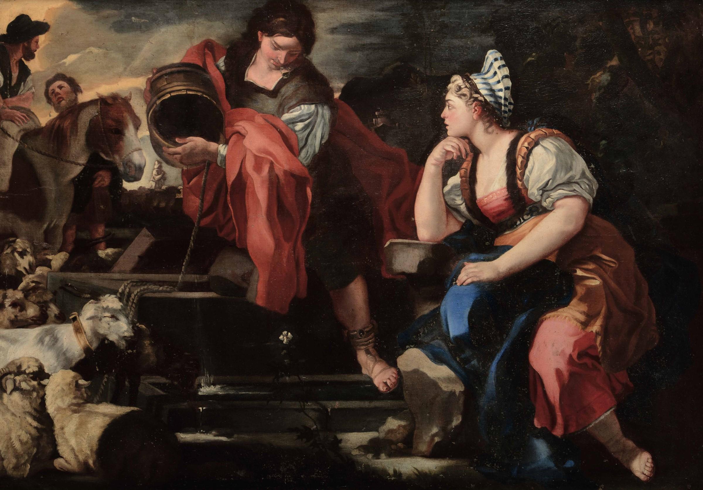 Francesco Solimena (Serino 1657 - Napoli 1747), attribuito a, Giacobbe e Rachele al [...]