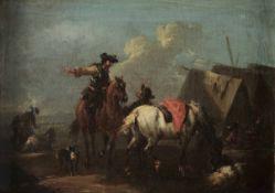 Augustus Querfurt (Wolfenbüttel 1696 - Vienna 1761), Accampamento con cavalieri - [...]