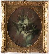 Scuola francese del XVIII secolo, Figure allegoriche - coppia di monocromi a olio su [...]
