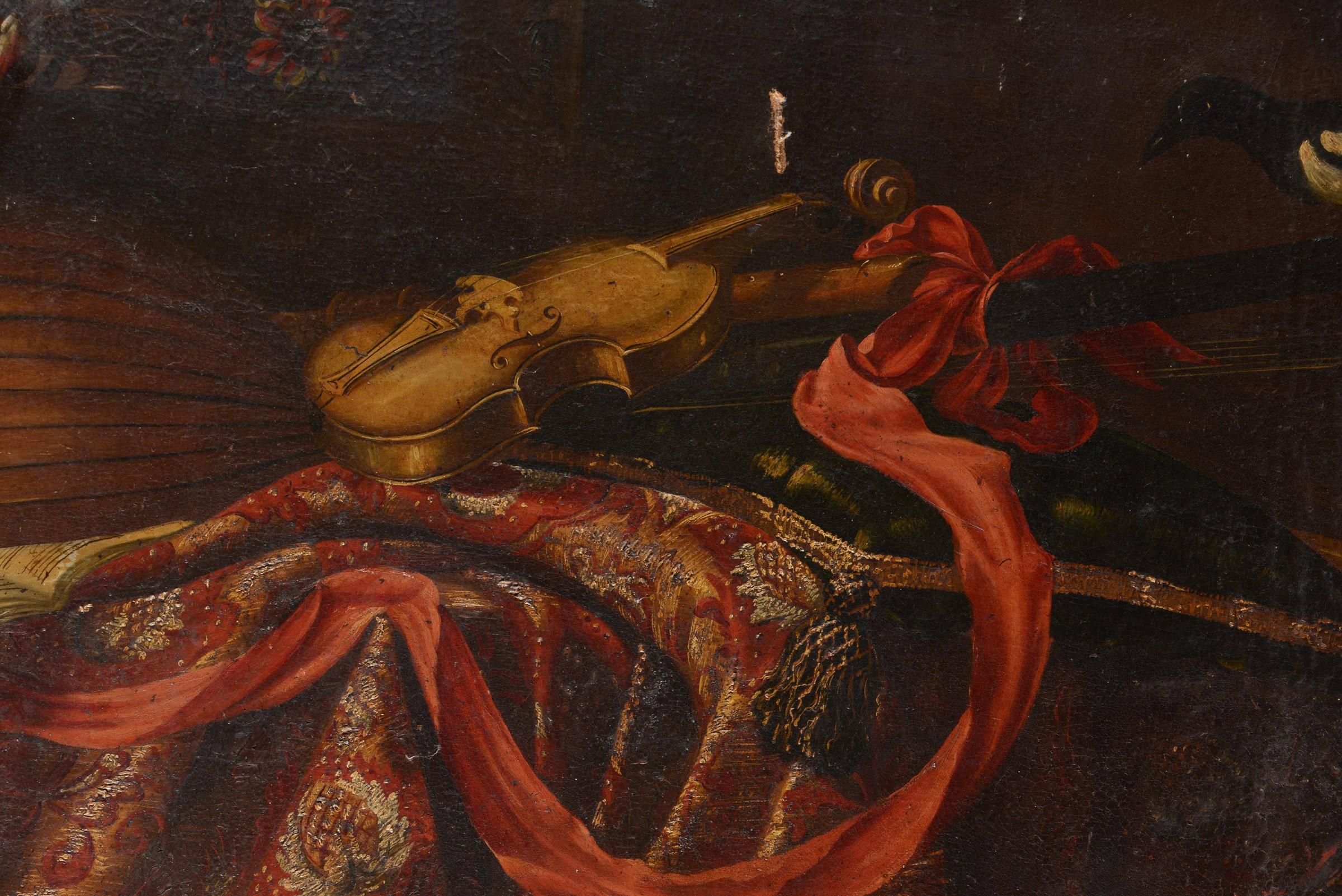 Giuseppe Recco (Napoli 1634 - Alicante 1695), Natura morta con strumenti e tappeti - [...] - Image 2 of 3