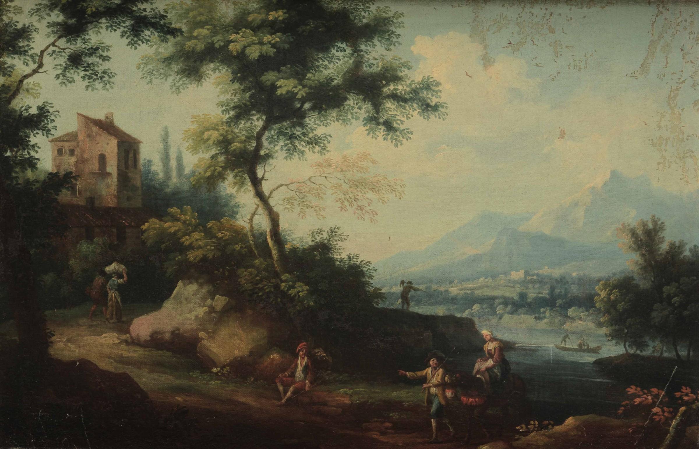 Vittorio Amedeo Cignaroli (Torino 1730-1800), Paesaggio con viandanti e contadini - [...]