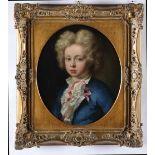 Scuola francese del XVIII secolo, Ritratto di infante - olio su tela, cm 48x40 -