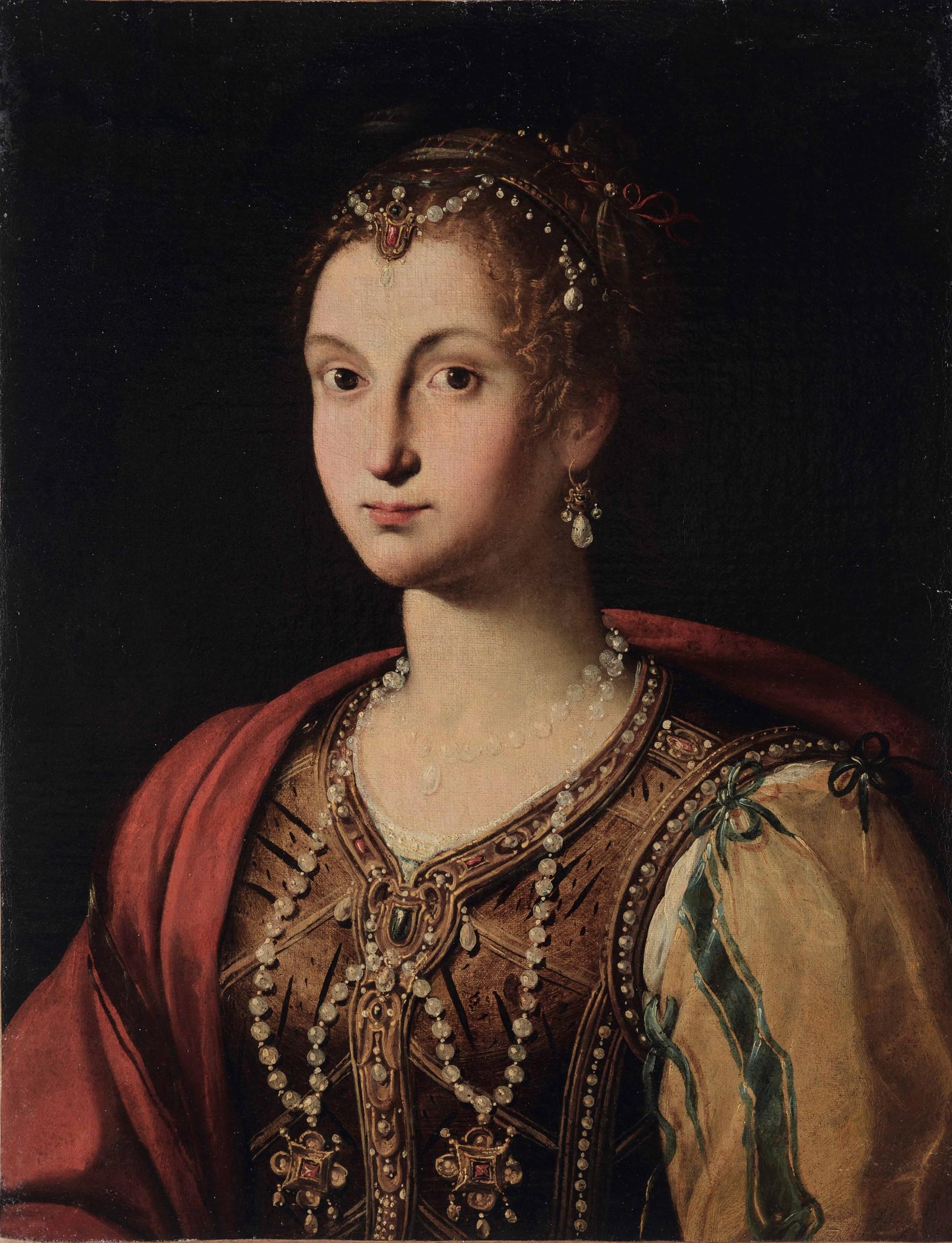 Jacopo Zucchi (Firenze 1541 - Roma 1596), attribuito a, Ritratto di gentildonna con [...]