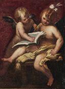 Valerio Castello (Genova 1624-1659), Putti con libro - olio su tela, cm 43x32, [...]