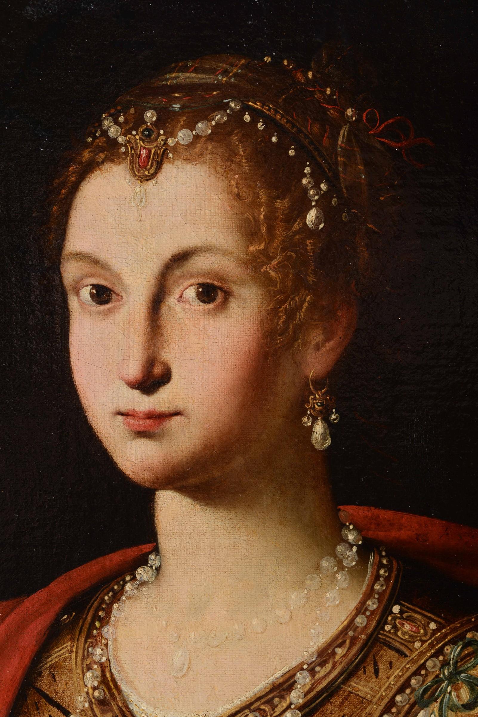 Jacopo Zucchi (Firenze 1541 - Roma 1596), attribuito a, Ritratto di gentildonna con [...] - Image 3 of 3