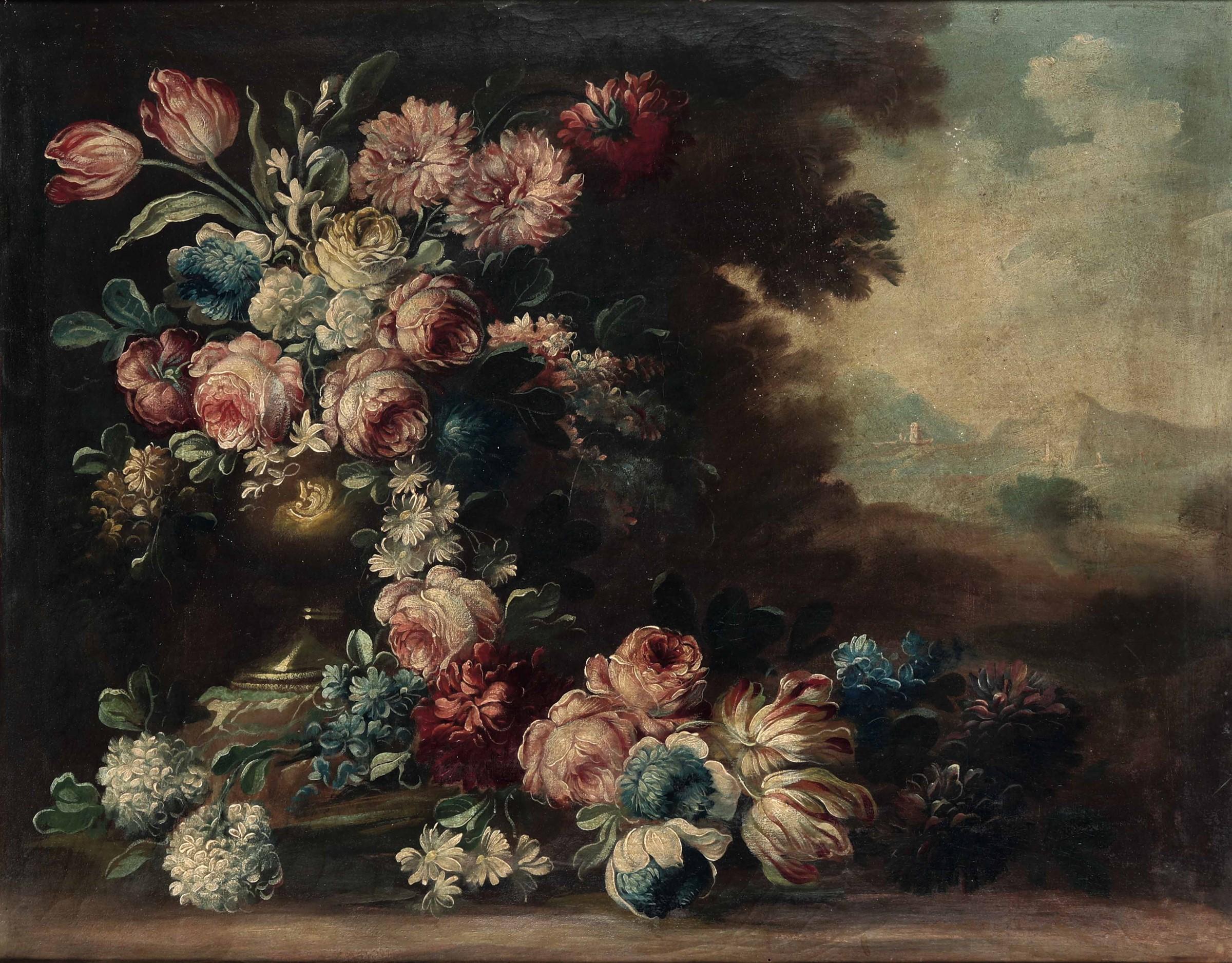 Scuola piemontese del XVIII secolo, Natura morta con vaso di fiori - coppia di [...] - Image 2 of 3