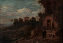 Scuola romana del XVII secolo, Paesaggio con figure e architetture - olio su tela, cm [...]