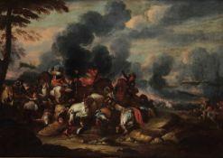 Georg Philipp Rugendas (Augusta 1666-1742), Scontro di cavalleria - olio su tela, cm [...]