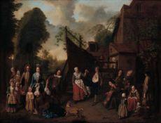 Jan Jozef Horemans (Anversa 1682-1759), Festa campestre - olio su tela, cm 83x100 -