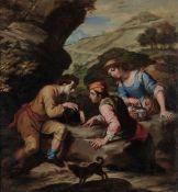 Scuola napoletana del XVIII secolo, Scena popolare - olio su tela, cm 77x72 -