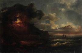 Scuola italiana del XVIII secolo, Veduta con eruzione dell'Etna - olio su tela, cm [...]