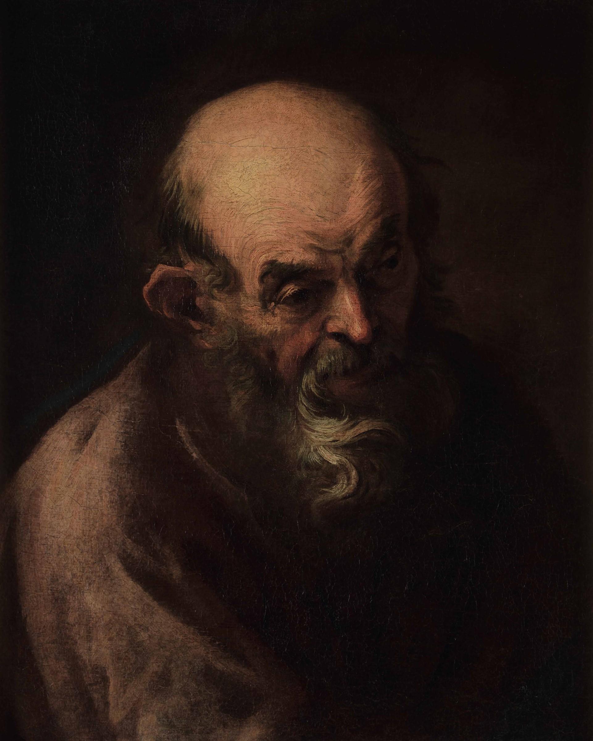 Alessandro Magnasco (Genova 1667-1749), Ritratto di anziano - olio su tela, cm 59x49, [...]