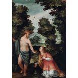 Scuola fiamminga del XVII secolo, Noli me tangere - olio su rame, cm 35x25 -