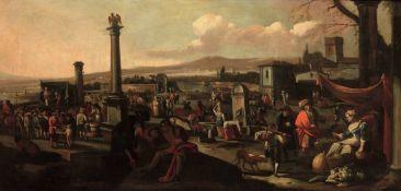 Scuola fiamminga del XVIII secolo, Scena di mercato - olio su tela, cm 104x212 -