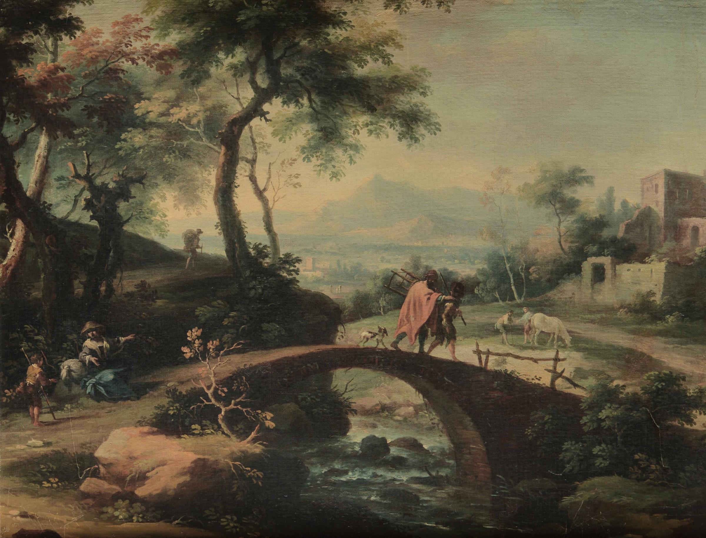 Vittorio Amedeo Cignaroli (Torino 1730-1800), Paesaggio con viandanti - olio su tela, [...]