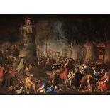 Giovanni Battista Carlone (Genova 1603-1684), Incendio di Roma - olio su tela, cm [...]