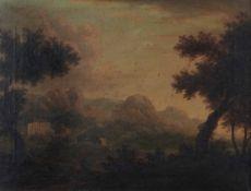 Scuola del XVIII secolo, Paesaggio - olio su tela, cm 55x70 -