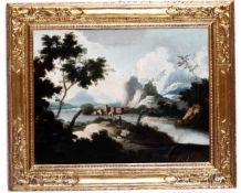 Maestro dei Paesaggi di Ca' Rezzonico, Paesaggio - olio su tela, cm 55x72, L'opera è [...]