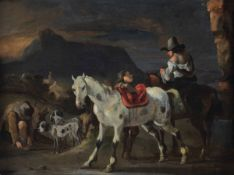 Gerard Douw (Leida 1613-1675), Paesaggio di montagna con cavalieri - olio su tavola, [...]