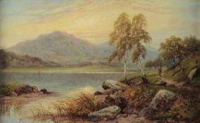 Scuola inglese del XIX secolo, Paesaggio lacustre - olio su tela, cm 41 x 67, in [...]