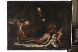 Scuola italiana del XVII secolo, Compianto sul Cristo morto - olio su tela, cm 74x99 -