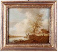 Van der Cross, Paesaggio - olio su tavola, cm 31x39 -
