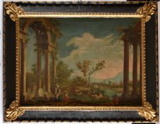 Scuola italiana del XVIII-XIX secolo, Paesaggi con architetture e figure - coppia di [...]