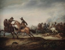 Abraham van der Hoef (Harleem 1611-1666), Scena di battaglia - olio su tavola, cm 31x41 -