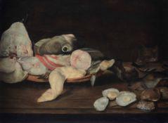 Scuola olandese del XVII secolo, Natura morta con pesci, ostriche e gatto - olio su [...]