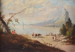 Scuola veneta del XVIII secolo, Veduta costiera con figure - olio su tela, cm 25x35 -