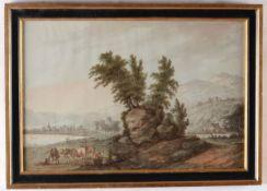 Scuola italiana del XVIII secolo, Paesaggi con pastori e armenti - due gouaches su [...]