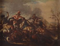 Scuola italiana del XVIII secolo, Scontro tra cavalieri - olio su tela, cm 31x39 -