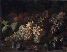 Scuola italiana del XVII-XVIII secolo, Natura morta con uva e fichi - olio su tela, [...]