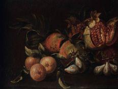 Scuola italiana del XVII secolo, Natura morta con melograni e fichi - olio su tela, [...]